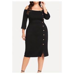 Dresses & Skirts - ➕Off-Shoulder Button Detail Dress